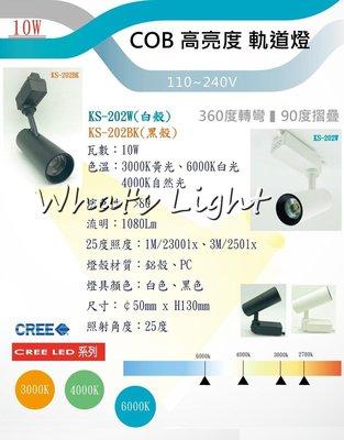 划得來LED燈飾~含稅 時尚簡約 LED 10W COB 防眩軌道燈 黃光/白光/自然光 一體成型直筒軌道燈 KS202