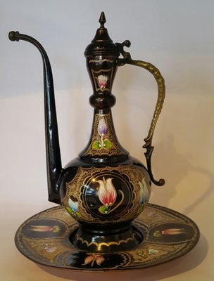 60 高級稀有土耳其精緻銅壺組 Vintage Turkish Teapot on Tray Copper Teapot