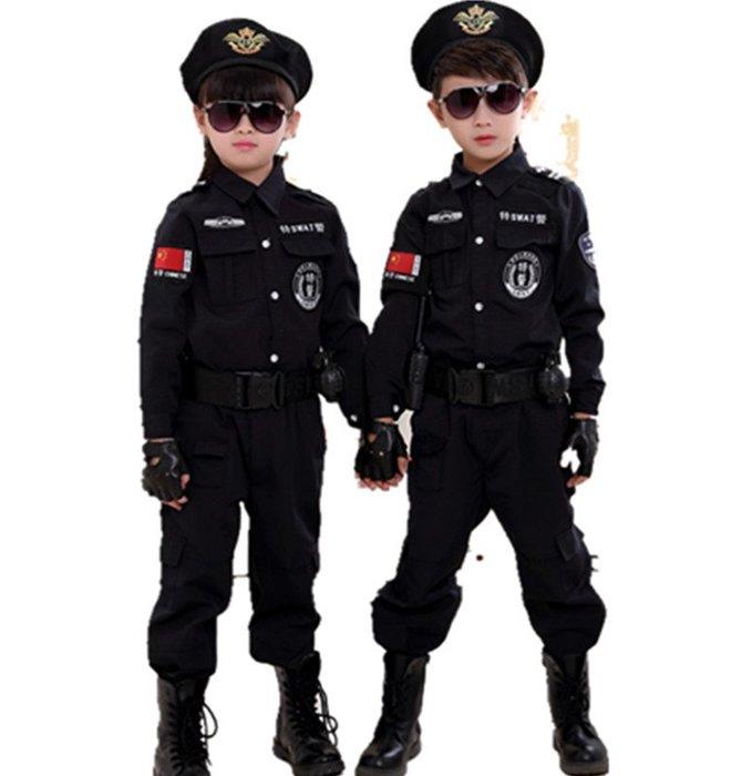 萬聖節服裝正韓版兒童小警察演出服裝特警萬圣節新款舞蹈男女小公安旦表演服裝9-6