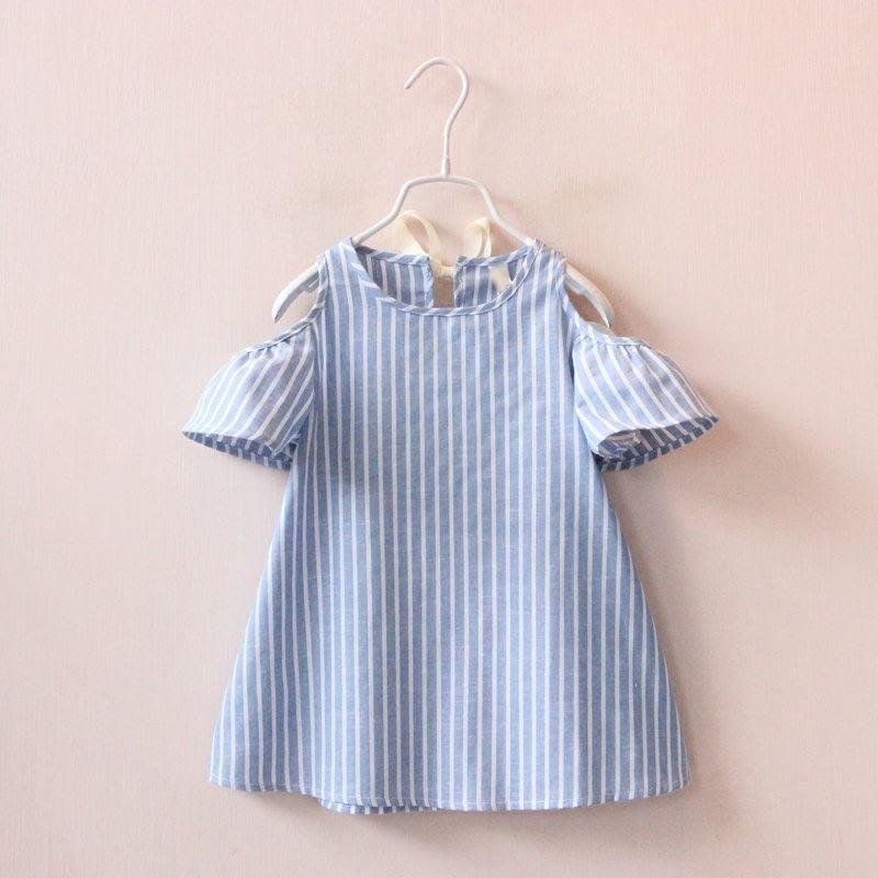 【溜。溜。選物】女童小清新條紋露肩短袖連衣裙可愛公主裙