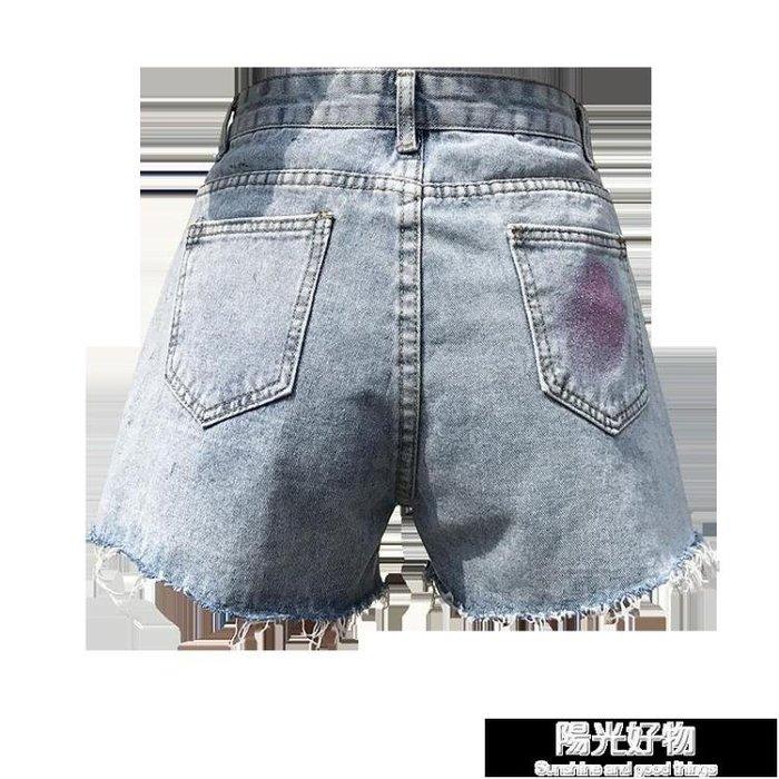 牛仔短褲女高腰寬鬆顯瘦a字潮闊腿毛邊泫雅同款韓版新款熱褲