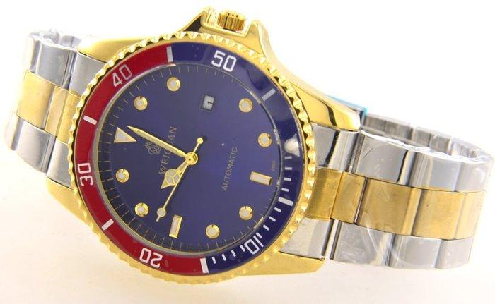 (六四三精品)超大錶徑4.5公分.半金鬼王.外框可轉動.半全金色自動上鍊機械錶