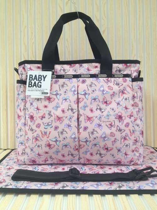 LeSportsac粉色蝴蝶 媽媽包媽咪包手提單肩包斜背包7532 附同款尿布墊 湯唯款 限時優惠