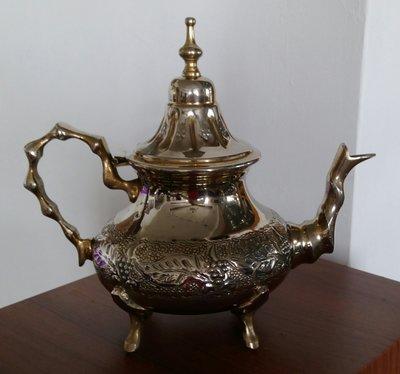 197 高級摩洛哥鍍銀壺 antique silver plate etched tea pot