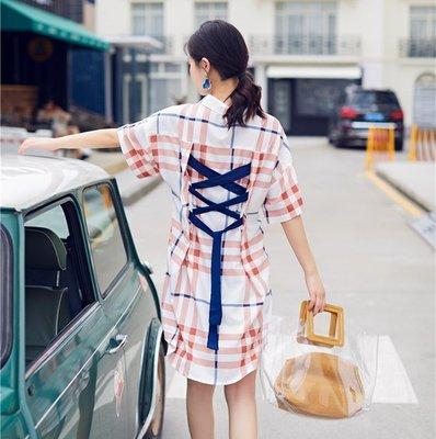 復古格子魚骨綁帶連衣裙寬松顯瘦收腰系帶連衣裙減齡學院風夏