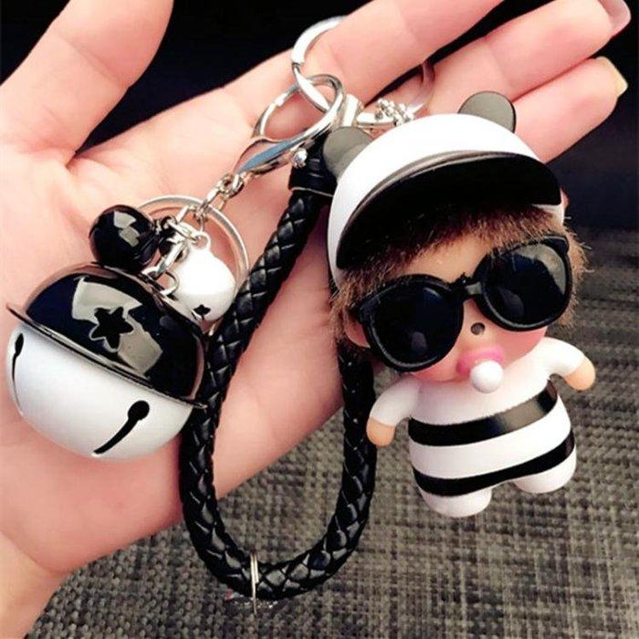 鑰匙圈可愛萌奇奇鈴鐺鑰匙扣韓國創意女款生日禮物汽車鑰匙鏈包掛件公仔