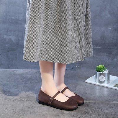 『紫藤花園』小ck瑪麗珍奶奶鞋平底2019春款軟皮森系森女簡約一字扣純皮手工鞋A50
