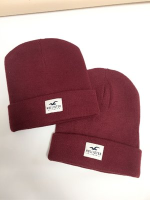 HOLLISTER 棗紅色 冷帽 綿帽