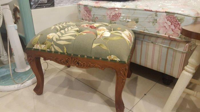 桃花心木雕刻小椅 彫刻虎腳凳 原木 洗白椅