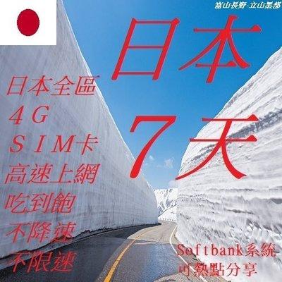 日本 7天/7日 吃到飽 不降速 不限速 上網 4G SIM 網卡 wifi (附卡針) 全區 插卡即