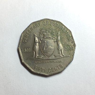 澳洲紀念幣 2001年 50 cent 西澳大利亞徽章-紀念聯邦一百週年 / 50分 硬幣 錢幣 特殊幣 流通幣 澳大利亞