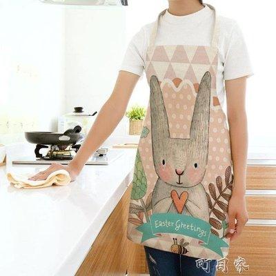 創意布藝家居卡通兔子圍裙可愛圍裙棉麻圍裙圍兜成人兒童親子