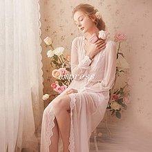 Empress丶蕾絲性感睡袍女夏季薄款宮廷風新娘婚禮晨服睡衣浴袍浴衣