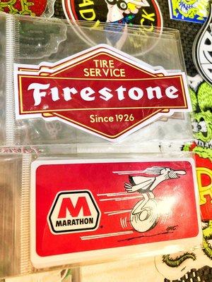 (I LOVE樂多)美國進口貼紙 MARATHON石油公司  FIRESTONE 火石輪胎
