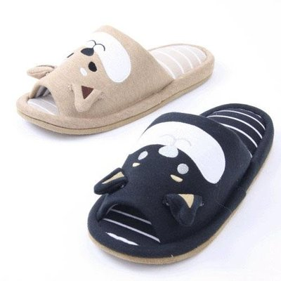 (預購商品) 牛牛小舖**日本空運代購 春夏新款 療癒柴犬棉質室內拖鞋 原色 / 黑柴