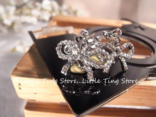 Little Ting Store: SWAROVSKI 垂吊 蝴蝶結耳環貼耳飾螺旋夾式耳環 生日禮物