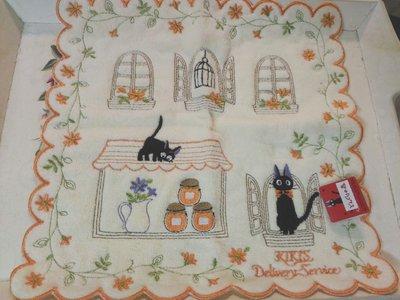 KIKIS 小黑貓 淺淺的鵝黃色底 手帕毛巾帕 日本帶回
