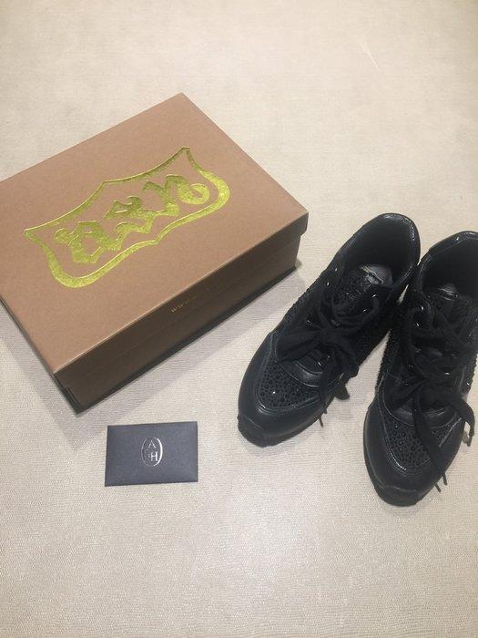 Ash 黑色真皮水鑽造型增高鞋 休閒鞋 球鞋 厚底鞋