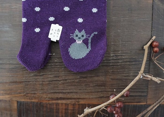 【 カランコロン 京都 】 日本製 可愛 灰 貓咪 點點 短襪 忍者襪