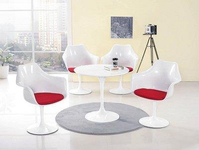 ~白色造型2.6尺圓形洽談休閒桌椅組1836364-1A~巧匠家具批發廣場~
