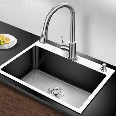 水槽 304不銹鋼加厚手工水槽大單槽套裝--柳風向