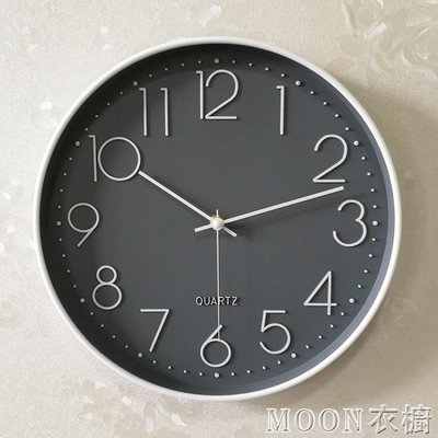 【蘑菇小隊】鐘錶掛鐘客廳現代簡約大氣創意時尚圓形臥室靜音電池墻貼石英鐘-MG30346