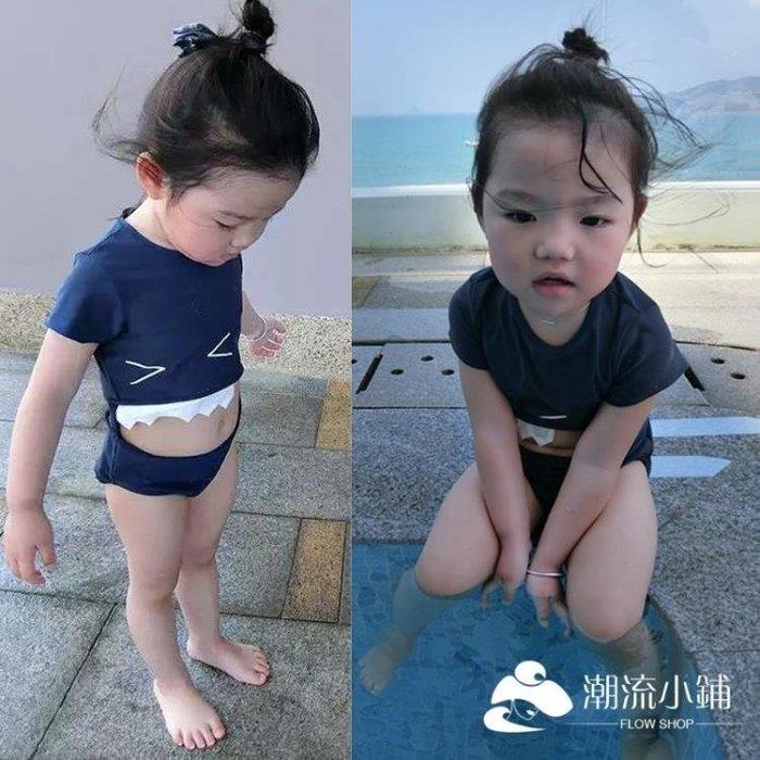 韓版兒童泳衣女孩可愛卡通鯊魚牙齒連體泳裝男女童寶寶沙灘游泳衣