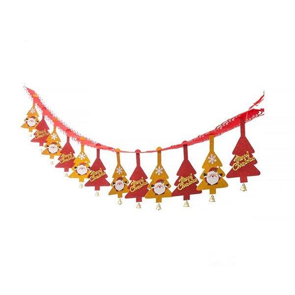 節慶王【X125003】串旗-公公聖誕樹 紅+金,聖誕佈置品/聖誕節紙品/串旗/掛飾/吊飾