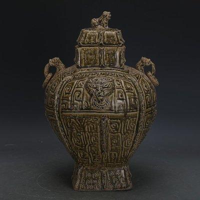 西周越窯手工刻青釉獸耳四方尊蓋罐  出土文物古瓷器古玩古董收藏