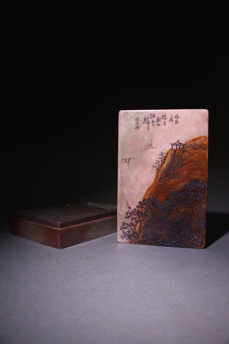 悅年堂 --- 潘西鳳銘 松花石 方硯 松花硯