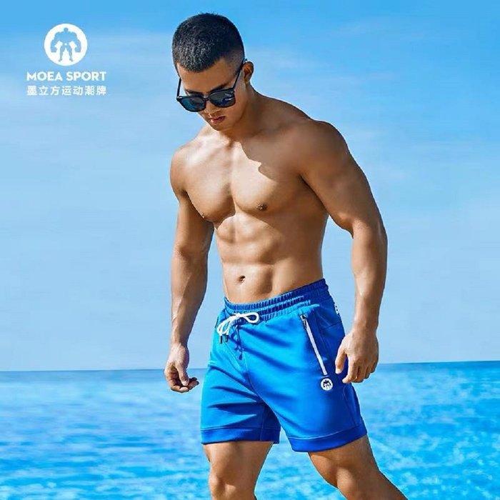 【OTOKO Men's Boutique】MOEA墨立方藍獅運動短褲/五分褲/藍色(台灣獨家代理)