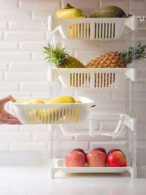 新款家居居家家廚房落地多層蔬菜水果收納筐家用塑料收納架浴室瀝水置物架