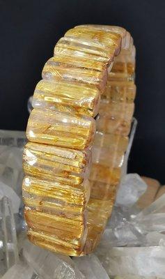 清透蛋面黃金鈦晶手排38