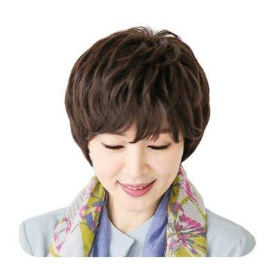 整頂 假髮 真髮絲-斜瀏海微捲短髮舒適女假髮2色73vc14[獨家進口][米蘭精品]