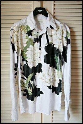 遠企專櫃真品Gianfranco Ferre白色精描國畫印花長袖襯衫