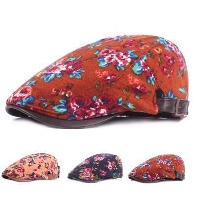 貝雷 帽 鴨舌帽-絨布加厚小花朵保暖男女帽子3色73tv157[獨家進口][米蘭精品]
