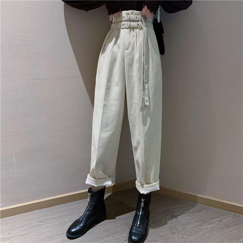 BZA 韓版直筒高腰系帶顯瘦燈芯絨闊腿褲休閑九分褲子哈倫褲春季女