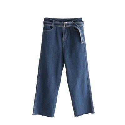 牛仔 褲 闊腿 九分褲-微復古高腰明線毛邊女褲子73tq18[獨家進口][米蘭精品]