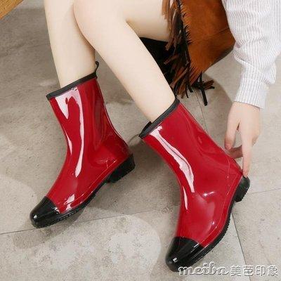 【暖暖居家】水鞋女中筒秋季韓國時尚雨靴雨鞋女冬秋成人大碼套鞋工作防滑膠鞋-NNJZ14997