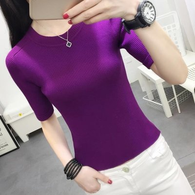短袖針織上衣 春季女裝短上衣2020新款潮白修身毛衣歐美針織打底衫薄黑色中袖紫