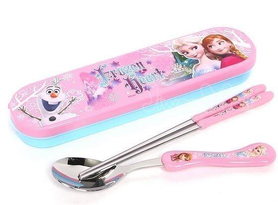 韓國進口Frozen 冰雪奇緣兒童不鏽鋼筷子+湯匙 附盒裝 最新款 現貨