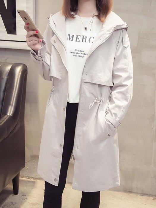 連帽風衣女中長款2018新款女士秋季韓版外搭薄款寬鬆大衣女外套潮