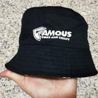 正品 美牌 FAMOUS BUCKET HATS 黑色 花卉 雙面戴 漁夫帽 嘻哈 饒舌 HIP HOP