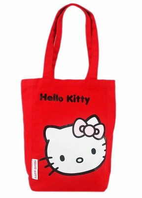 【卡漫迷】 Hello Kitty 帆布 肩背袋 紅色 ㊣版 補習袋 購物袋 手提袋 日版 側背袋 凱蒂貓 A4 書本袋