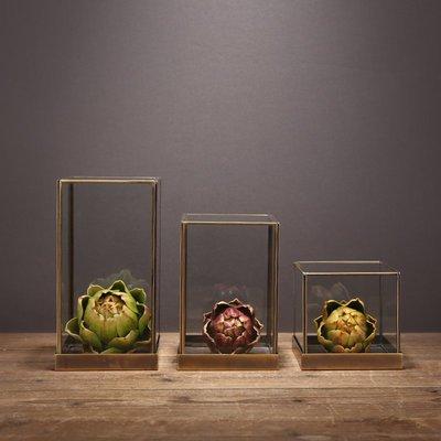 〖洋碼頭〗美式景觀瓶玻璃花瓶北歐創意擺件銅條擺設多家居飾品簡約現代花盆 ysh358