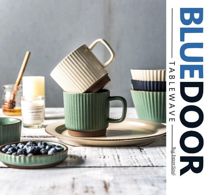 BlueD_依藍系列 復古條紋 馬克杯 牛奶杯 水杯 咖啡杯 陶瓷仿舊文青 創意設計裝潢簡約 可微波 網美風 純樸鄉村風
