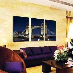 【優上精品】倫敦橋夜景客廳無框畫三聯畫臥室裝飾畫風景歐美現代簡約壁畫(Z-P3221)