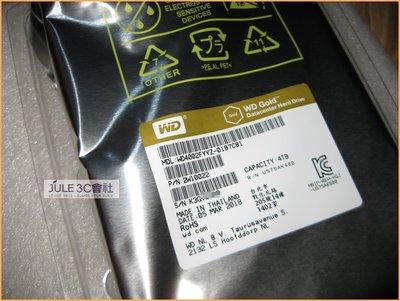 JULE 3C會社-威騰WD 金標 WD4002FYYZ 4TB 4T 新品/128M/3.5吋/SATA3/企業級硬碟