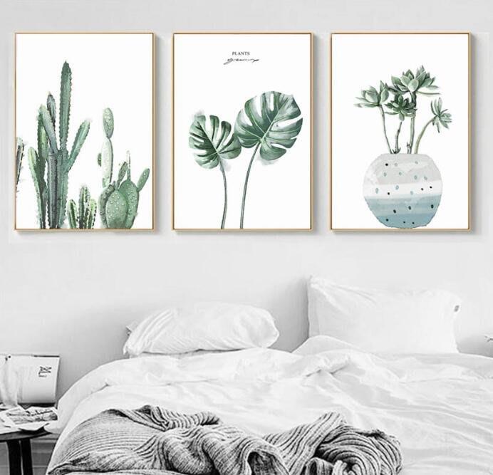 三幅一組油畫布 小清新綠色植物葉子仙人掌 畫芯/畫布/30X40☺暖暖屋☺傢居藝術館