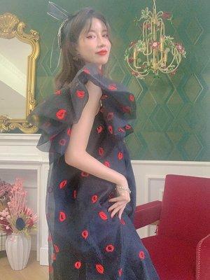 {彼得兔小鎮} LASS LIZ創意自制仙女裙飛袖方領一字肩兩穿時髦網紗寬松長裙夏新BM60